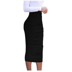Dresses & Skirts - RUCHED BODY-CON HIGH WAIST MIDI SKIRT